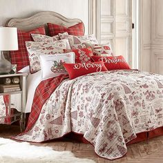 Update your bedroom with vintage holiday flair with Levtex Home's Yuletide Reversible Quilt Set. Perfect for the holiday season, this quilt set features classic Christmas phrases and images with a plaid reverse, injecting cheer to your home. King Quilt Sets, Queen Quilt, Christmas Bedding, Christmas Home, Christmas Phrases, Christmas Bed Sheets, Christmas Mantles, Christmas Interiors, Christmas Villages