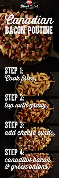 (How To Make Gravy For Poutine) Poutine Recipe, Canadian Bacon, Canadian Food, Canadian Poutine, Canadian Recipes, Cooking Recipes, Snack Recipes, Healthy Cooking, Dining