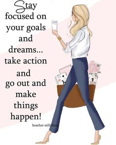 Stay focused and take action! Your goals and dreams take work and perseverance. Positive Vibes, Positive Quotes, Motivational Quotes, Inspirational Quotes, Girl Boss Quotes, Woman Quotes, Focus On Your Goals, Just Dream, Stay Focused