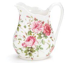 SADDLEBROOKE Porcelain Roses Large Pitcher Gift Boxed