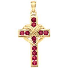 Birthstone Heart Cross Pendant - The Danbury Mint