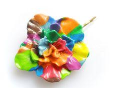 Bright Flower Cameo Hair Clip - Rose Rainbow £6.00