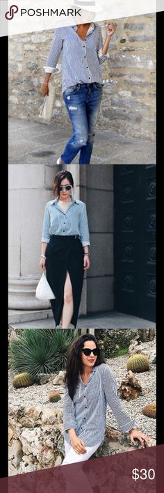 🆕 vertical stripe blouse Fabric:Fabric has no stretch Season:Spring, Fall Pattern Type:Striped Sleeve Length:Long Sleeve Color:Blue Material:Cotton Style:Casual, Work, Basic Collar:Lapel Decoration:Pocket, Button Shoulder(Cm):M:38cm Bust(Cm):M:98cm, Length(Cm):M:76cm Sleeve Length(Cm)M:60cm, Tops Button Down Shirts
