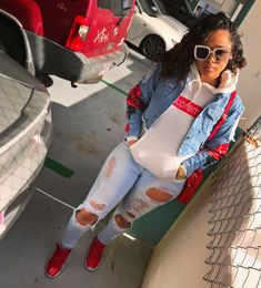 Best Baddie Outfits Part 1 Chill Outfits, Dope Outfits, Swag Outfits, Trendy Outfits, Black Girl Fashion, Teen Fashion, Fashion Outfits, Baddie Outfits For School, Vetement Fashion