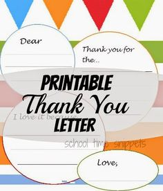 Printable Thank You Letter: Colorful & Versatile for boys or girls.  Great way to encourage handwriting skills!