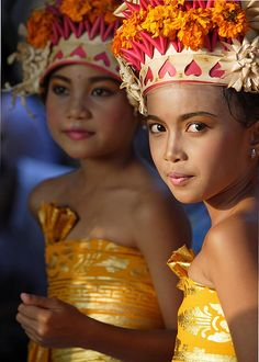Orange & Yellows beautiful combinations  Traditional Balinese dancer  -Bali, Indonesia : Christmas 2012