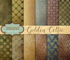 Gold Celtic Digital Paper by Digital Curio on @creativemarket