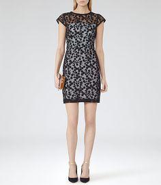 Womens Black/blue Lace Overlay Shift Dress - Reiss April