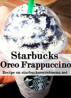 Starbucks Secret Menu: Cookies and Cream/Oreo Frappuccino Starbucks Frappuccino, Starbucks Secret Menu Drinks, Starbucks Coffee, Starbucks Cookies And Cream Frappuccino Recipe, Oreo Frappe Starbucks, Oreo Frappe Recipe, Starbucks Hacks, Decaf Starbucks Drinks, Starbucks Whipped Cream