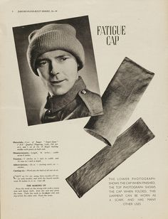 """1940s Patterns to Knit (shown: """"Fatigue Cap"""" - a hat that doubles as a scarf)"""