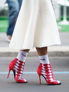 Worst Application Of Normcore Principles Those red Aperlai heels are  amazing but look insane with Nike socks. Photo: Youngjun Koo/I'M KOO:
