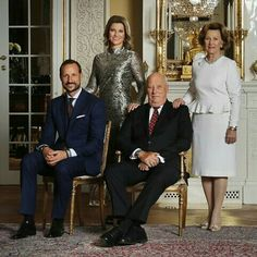Official Portraits For The 80th Birthday Celebrations For King Harald And Queen Sonja. Released February 16, 2017. Crown Prince Haakon, Princess Martha. Louise, King Harald And Queen Sonja.