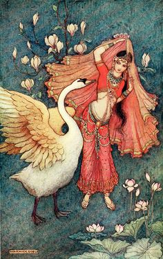 "Damayanti and the Swan. 'Nala and Damayanti' from ""Indian myth and legend"" (1913). Illustration by Warwick Goble"