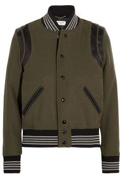Saint Laurent   Teddy leather-trimmed wool-blend bomber jacket   NET-A-PORTER.COM
