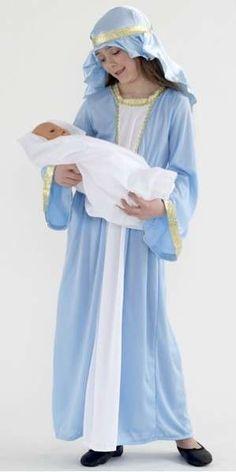 Disfraz de Virgen María: Fotos de algunas ideas - Disfraz de Virgen María: En celeste dorado y blanco