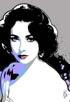 Elizabeth Taylor, Celebrity, movie star, portrait, Pop Art print in purple, violet and black, Available in multiple sizes.