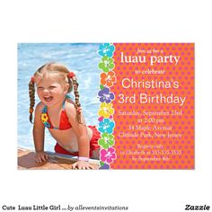 Cute  Luau Little Girl  Birthday Party Invitations