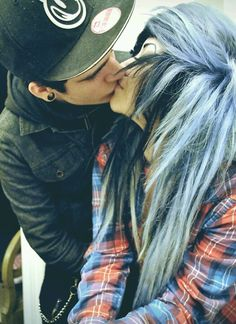 me and jas Scene Couples, Emo Couples, Adorable Couples, Emo Love, Cute Emo, Emo Scene Hair, Emo Hair, The Kiss, Emo People
