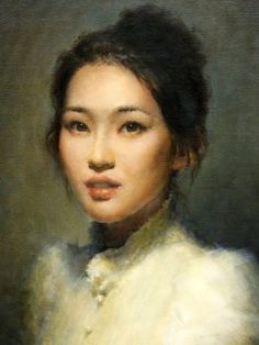 Self Portrait, Faye Hsu I love the ethereal nature of this painting with only using Earthly colors. The sharpness of the eyes as it becomes less focused outwards is fantastic. I want this on a necklace.