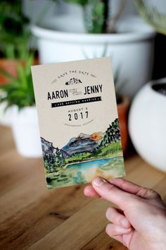 Rustic Watercolor Mountain Save The Date by WideEyesPaperCo