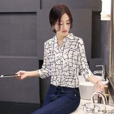 Women's #white long sleeve #shirt stripe check pattern print, 9 point sleeve, V neck, Button fastenings on the front.