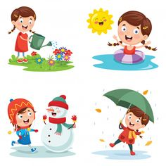 Find Vector Illustration Seasons stock images in HD and millions of other royalty-free stock photos, illustrations and vectors in the Shutterstock collection. Thousands of new, high-quality pictures added every day. School Age Activities, Toddler Learning Activities, Weather For Kids, Kids Background, Vector Background, Flashcards For Kids, Retro Logos, Vintage Logos, Vintage Typography
