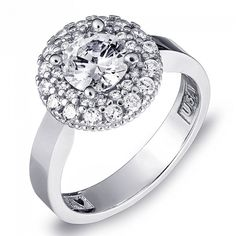 Milgrain Double Halo Engagement Ring in Sterling Silver ( 1.6 ct. tw.)