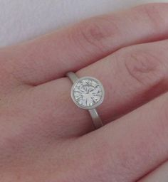 Palladium and 7 mm Moissanite Engagement Ring  River by esdesigns, $780.00