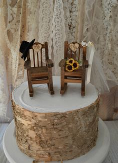 Rocking chair wedding cake topper country weddings rustic sunflowers bride groom Mr and Mrs hat and veil wedding sign wood chairs western by MorganTheCreator on Etsy https://www.etsy.com/listing/506665274/rocking-chair-wedding-cake-topper