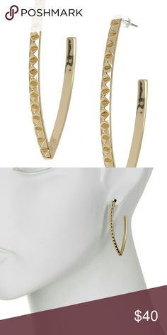 """Rebecca Minkoff Studded Drop Earrings gold Details      Pyramidal studs lend modern edge and cool dimension to a pair of pointed drop earrings.      - 14K gold plated studded drop earrings      - Post back      - Approx. 2"""" length      - Imported  Materials      14K gold plated base metal Rebecca Minkoff Jewelry Earrings"""
