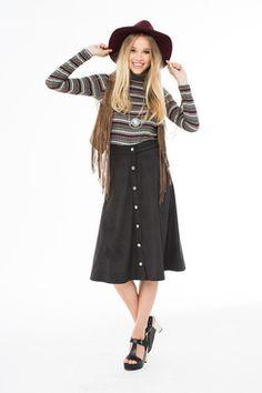 www.livingdoll.la junior & plus size clothes // Go Go Gal Midi Button Down Skirt