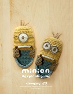Minion Despicable Me Baby BootiesCrochet PATTERN by Kittying.com / Mulu.us