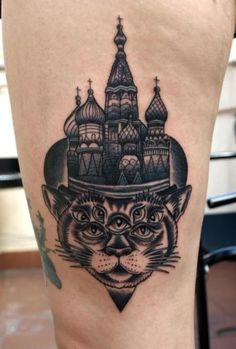 Church and Cat Ink inspired by Russian Criminal Tattoo Style