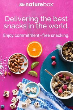 With NatureBox you can get as many snacks as you'd like, whenever you'd like, conveniently delivered right to your home or office. Enjoy commitment free snacking-change, pause or skip at any time. Get 50% off your first box today!