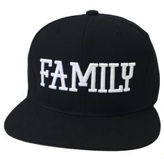 6f475c11a643d Flat Bill Snapback Cap Hat FAMILY Hip Hop Black ( 16) ❤ liked on Polyvore  featuring accessories