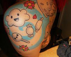 Kawaii tattoo by rockyhorrorbday Word Tattoos, Body Art Tattoos, Tatoos, Whimsical Tattoos, Picture Cloud, Pretty Tattoos For Women, Future Tattoos, Get A Tattoo, Shoulder Tattoo