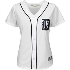 Majestic Women's Detroit Tigers Cool Base Jersey ($70) ❤ liked on Polyvore featuring activewear, activewear tops, tops, white y majestic sportswear