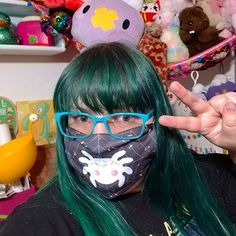 cute green hair with kawaii mask