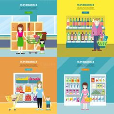 Set of Supermarket Concept by robuart on @creativemarket