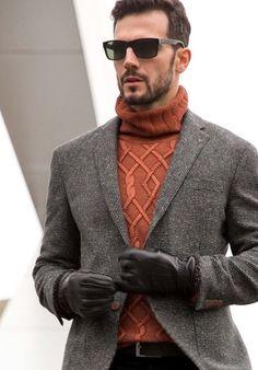 orange sweater men work outfit