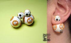 Double pearls fimo earrings inspired by BB8, droid from Star Wars The Force Awakens #fimo #polymerclay #handmade #artigianato #fattoamano #gioielli #jewelry #orecchini #earrings #doublepearls #bb8 #starwars #guerrestellari #theforceawakens #nerd #geek