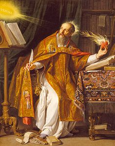 """The son of Saint Monica, Saint Augustine was born in Africa and educated in Carthage (5th cent). When he went to teach rhetoric in Milan, Saint Ambrose introduced him to the Holy Scriptures. He instantly believed and was baptized, renounced all wealth, and became a monk. Later he was ordained presbyter and bishop, at which time he fought several important heresies. He was a prolific writer; his best-known works are """"The City of God"""" and """"The Confessions."""" (Jun 15; 17th cent painting)"""