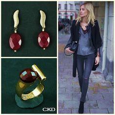 Anel e brincos com jade rubi! www.ckdsemijoias.com.br