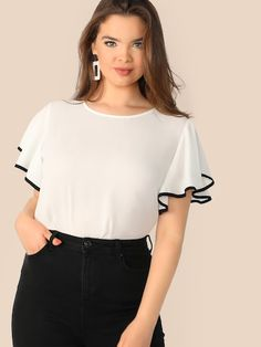 SHEIN Plus Size White Contrast Binding Butterfly Sleeve Button Ruffle Top Blouse Women 2019 Spring Casual Round Neck Top Blouses - Mode & Fashion Online Shop ✔ Plus Size Blouses, Plus Size Tops, Plus Size Women, Steampunk Lolita, Fashion Online Shop, Fashion Sale, Streetwear, Bodycon, Flutter Sleeve Top