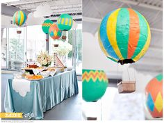 baby shower setting idea. table cloth, hot air balloons.