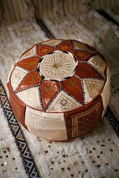 Bohemian pouf pillow earth tone tribal boho