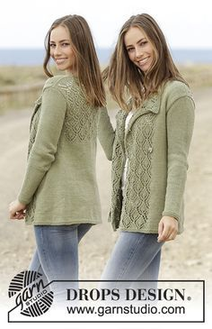 Garden Party - Knitted jacket with lace pattern in DROPS Paris. Free pattern by DROPS Design