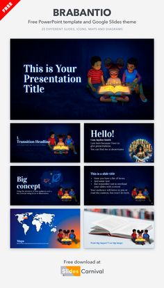 Add some delight to your presentations with this beautifully illustrated free template. Let these kids discovering the magic of reading accompany your content to surprise your audience. This theme is great for presentations related to libraries and reading, but also for any topic you can learn from books: history, art, literature, etc. Google Classroom, Presentation Templates, Libraries, Resume, Literature, Magic, Ads, Content, History
