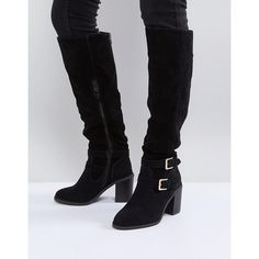 Miss KG Heeled Over The Knee Buckle Boot ($93) ❤ liked on Polyvore featuring shoes, boots, black, over-knee boots, high heel boots, over-the-knee high-heel boots, wedge heel boots and black over the knee high heel boots