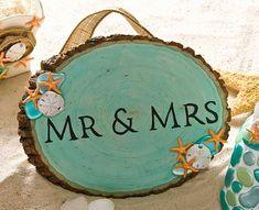 Wood Mr. Mrs. Wedding Sign for a Beach Wedding - Beach themed wedding #DIY ideas designed by Cathie Steve - click thru for the full tutorial using Mod Podge #modpodge #plaidcrafts #beachwedding